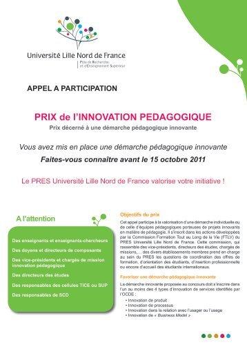 APPEL A PARTICIPATION PRIX de l'INNOVATION PEDAGOGIQUE