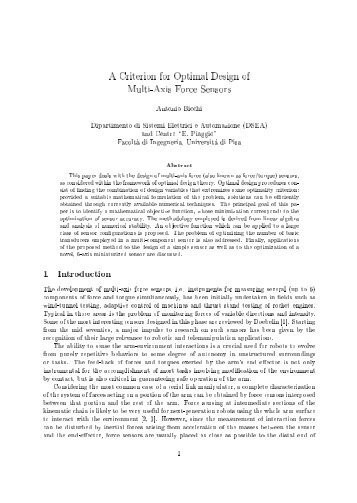 A Criterion for the Optimal Design of Multiaxis Force Sensors