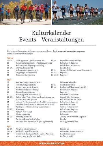 Kulturkalender Events Veranstaltungen - Valdres