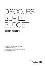 Discours sur le budget 2013-2014 - Gouvernement du Québec