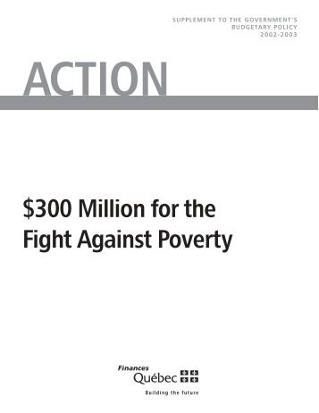 300 Million for the Fight Against Poverty - Budget - Gouvernement ...