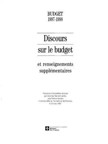 format pdf - Budget - Gouvernement du Québec