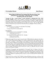 For Immediate Release News Release Alexis Reports Additional ...