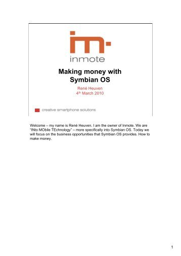 Making money with Symbian OS - Mobile Times