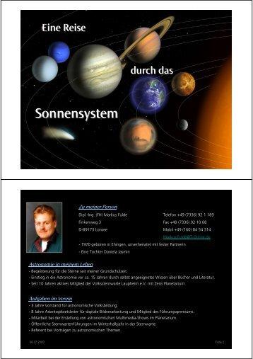 Sonnensystem - Kleinmaeusiges.de