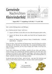 Dienstag, 14. August 2012, von 18.00 - Gemeinde Kleinrinderfeld