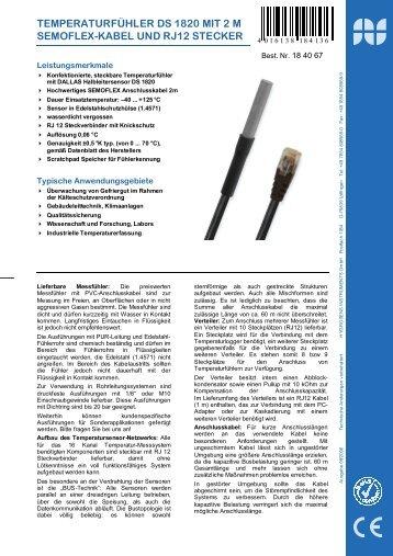 temperaturfühler ds 1820 mit 2 m semoflex-kabel und rj12 stecker