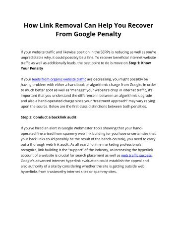 How Link Removal Can Help You Recover From Google Penalty