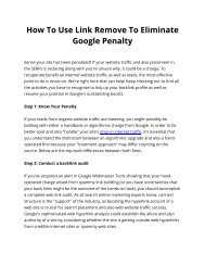 How To Use Link Remove To Eliminate Google Penalty