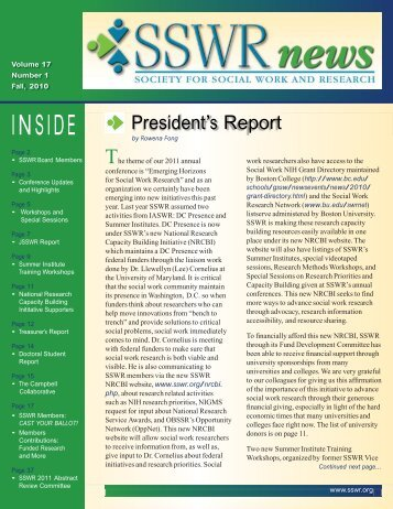 Vol 17, Issue 1 - December 2010 - Society for Social Work and ...