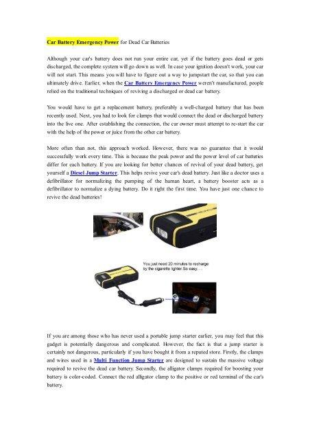 Car Battery Emergency Power for Dead Car Batteries pdf
