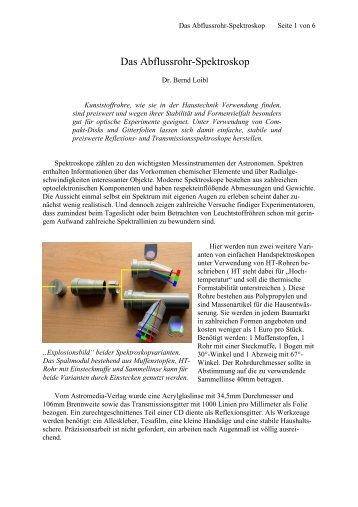 Das Abflussrohr-Spektroskop (227 KB) - Dr. Bernd Loibl