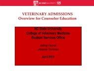 DVM Admission Requirements - North Carolina State University ...