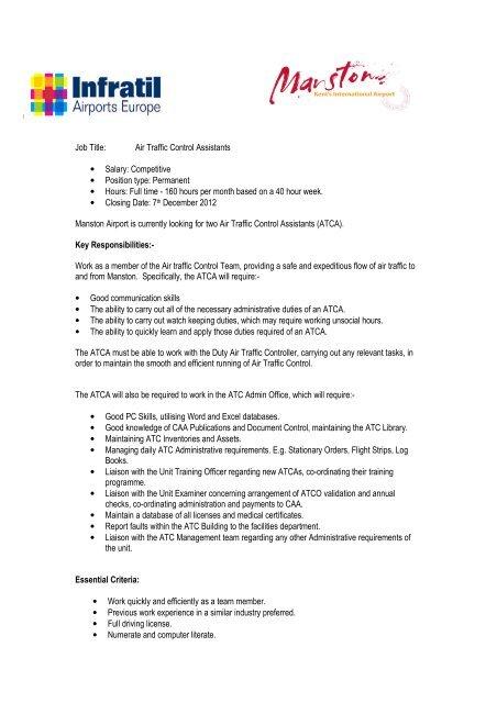 Job Title: Air Traffic Control Assistants • Salary