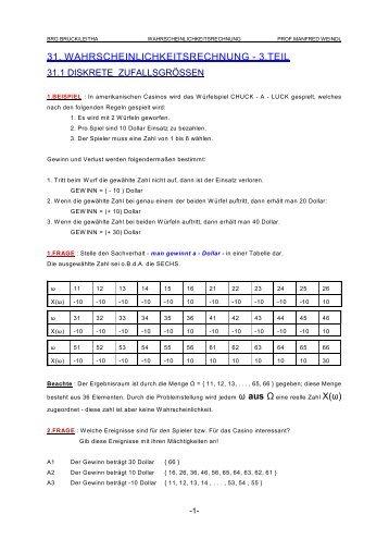 31. WAHRSCHEINLICHKEITSRECHNUNG - 3.TEIL - WEINDLFAMILY