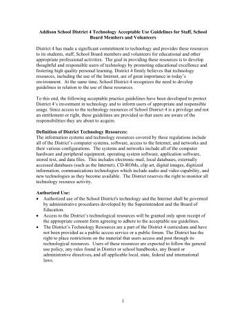 Acceptable Use Policy for Staff - Addison School District #4