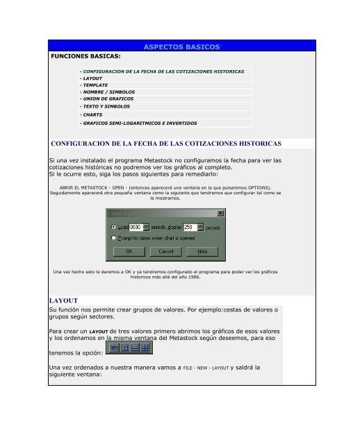 ASPECTOS BASICOS CONFIGURACION DE LA     - Metastock
