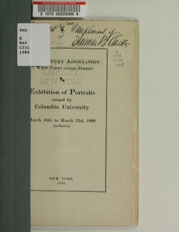 Exhibition of portraits owned by Columbia University. - New York Art ...