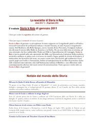 Leggi la newsletter di Storia in Rete n° 1 2011