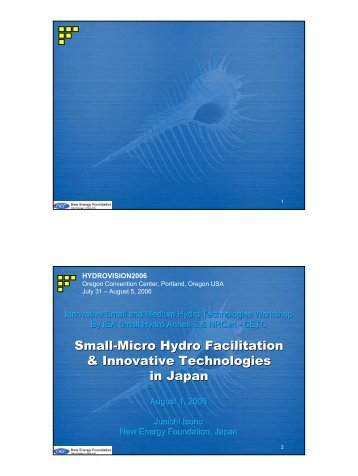 Small-Micro Hydro Facilitation & Innovative Technologies in Japan