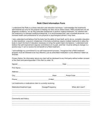 Reiki Client Information Form