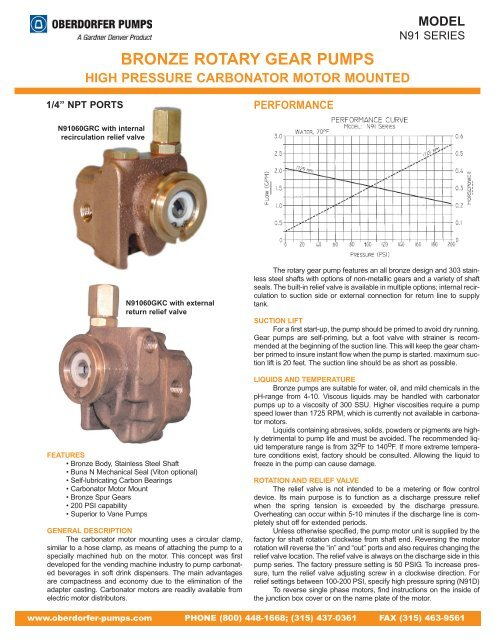"1//3 hp motor required 1//4/"" port Bronze Rotary Gear Pumps Carbonator Mount"