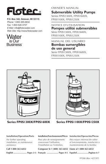 Submersible Utility Pumps Pompes utilité submersibles ... - Flotec