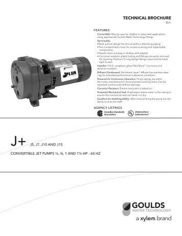 Goulds j5 Jet Pump manual