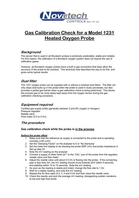Gas Calibration Check for a 1231 Oxygen Probe pdf