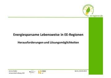 Energiesparsame Lebensweise in EE-Regionen: Handlungsfelder