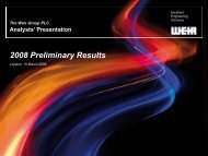 2008 Preliminary Results - The Weir Group