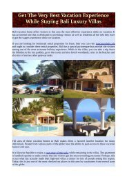 Get The Very Best Vacation Experience While Staying Bali Luxury Villas