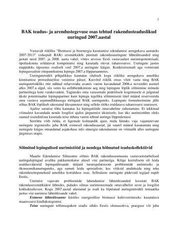 BAK teadus- ja arendustegevuse osas tehtud ... - bioenergybaltic