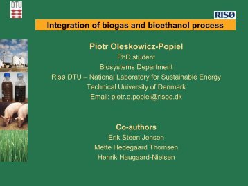 possible integration of biogas+bioethanol processing - bioenergybaltic