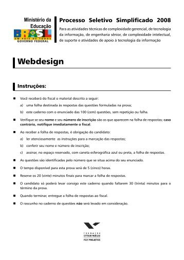 Prova - Webdesign - Central de Concursos
