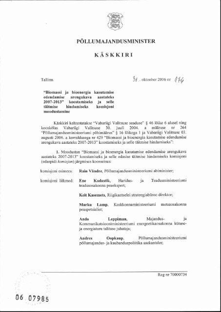 Põllumajandusministri käskkiri komisjoni ... - bioenergybaltic