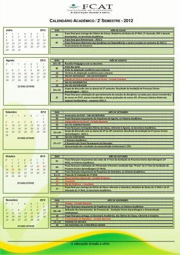 Conheça o Calendário Acadêmico de 2012.2 - FCAT