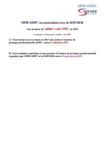 MPR ODPC en association avec la SOFMER vous propose de ...