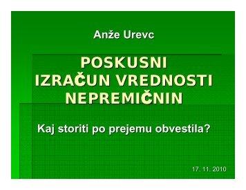 POSKUSNI IZRAČUN VREDNOSTI NEPREMIČNIN - Disketa.si