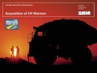 Acquisition of CH Warman - The Weir Group