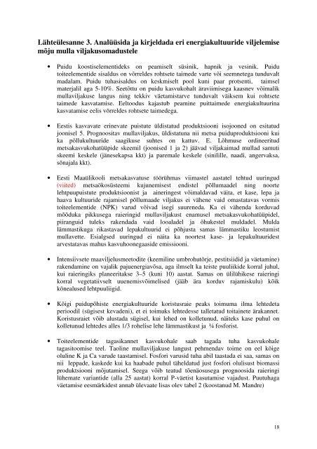 Puittaimede kasutusvõimalused energiakultuurina ... - bioenergybaltic