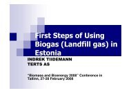 First Steps of Using Biogas (Landfill gas) in Estonia - bioenergybaltic