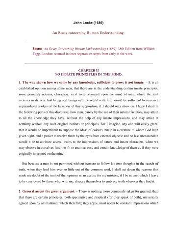 An Essay Concerning Human Understanding, by John Locke