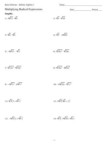 Multiplying and Dividing Radicals Worksheet | Rosenvoile.com