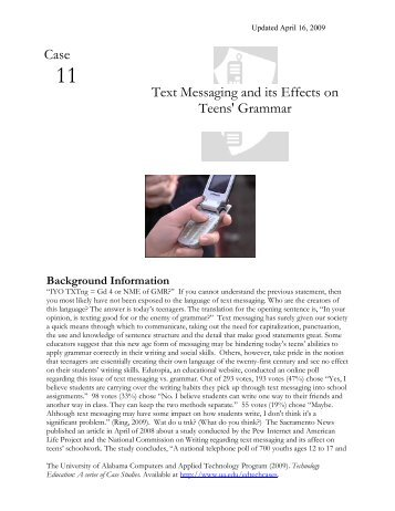 effects of text messaging among teens essay Sleep deprivation increases the likelihood teens will suffer myriad negative consequences, including an inability to concentrate, poor grades, drowsy-driving incidents, anxiety, depression, thoughts of suicide and even suicide attempts.