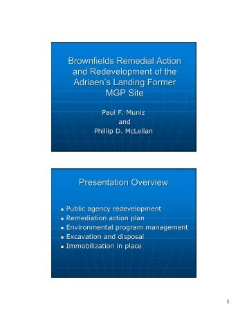 Brownfields Remedial Action and Redevelopment of the Adriaen's ...
