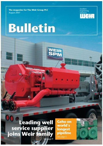 Bulletin Leading well service supplier joins Weir family - Weir Minerals