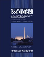 The Sixth World Conference on the Promotion of Mental Health and ...