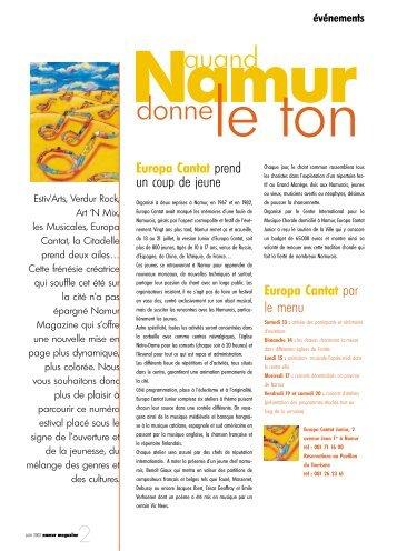 Europa Cantat Junior, Les Musicales, Estiv'Arts - Ville de Namur