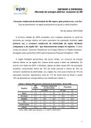 Mercado de energia elétrica: consumo no NE - EPE
